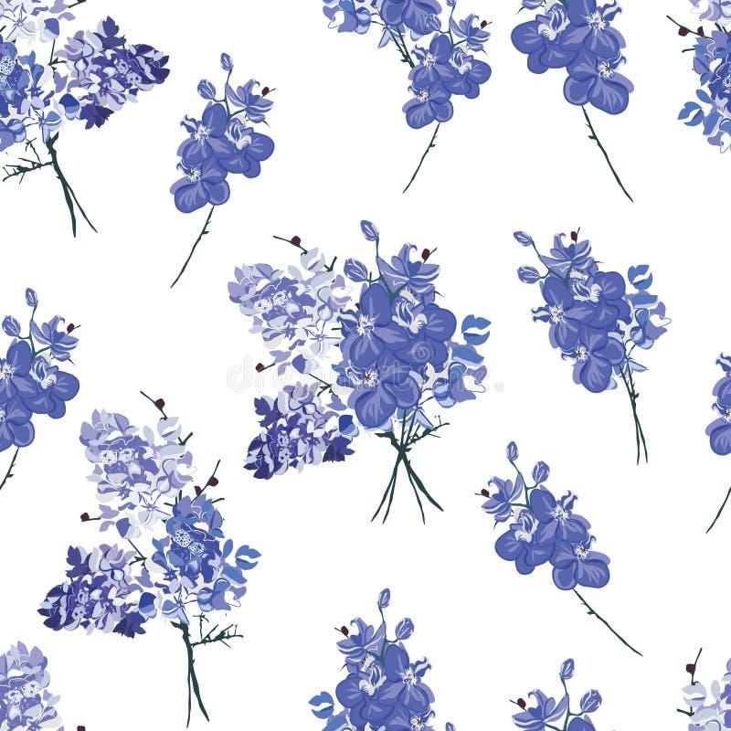 Violet Frans boeket naadloos patroon vector illustratie