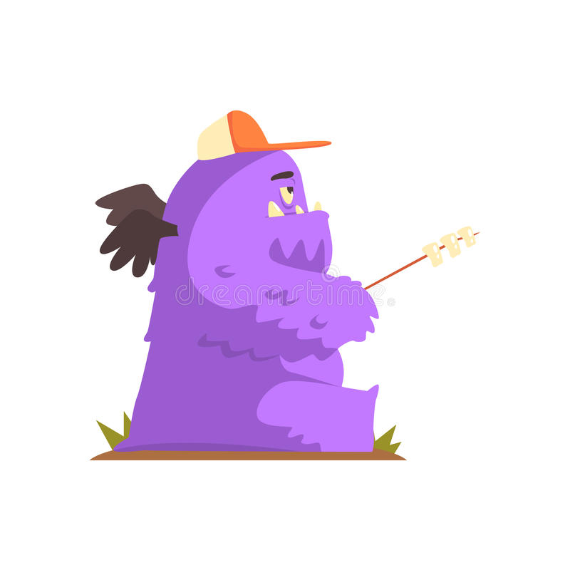Violet Furry Giant Winged Monster Frying Marshmallows On A Stick, Alien Camping And Hiking Cartoon Illustration. Fantastic Animal On A Hike Outdoors In The stock illustration