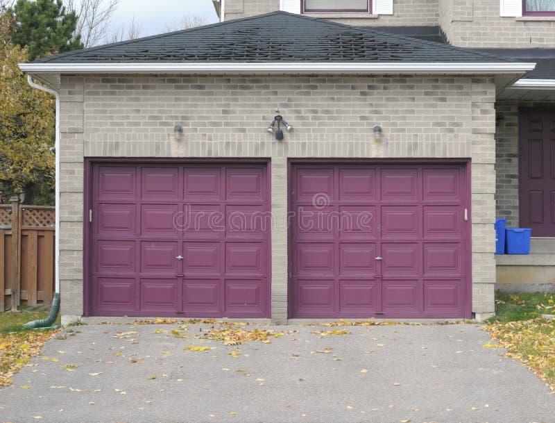 Violet garage doors royalty free stock photos