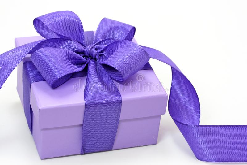 Violet gift box royalty free stock photos