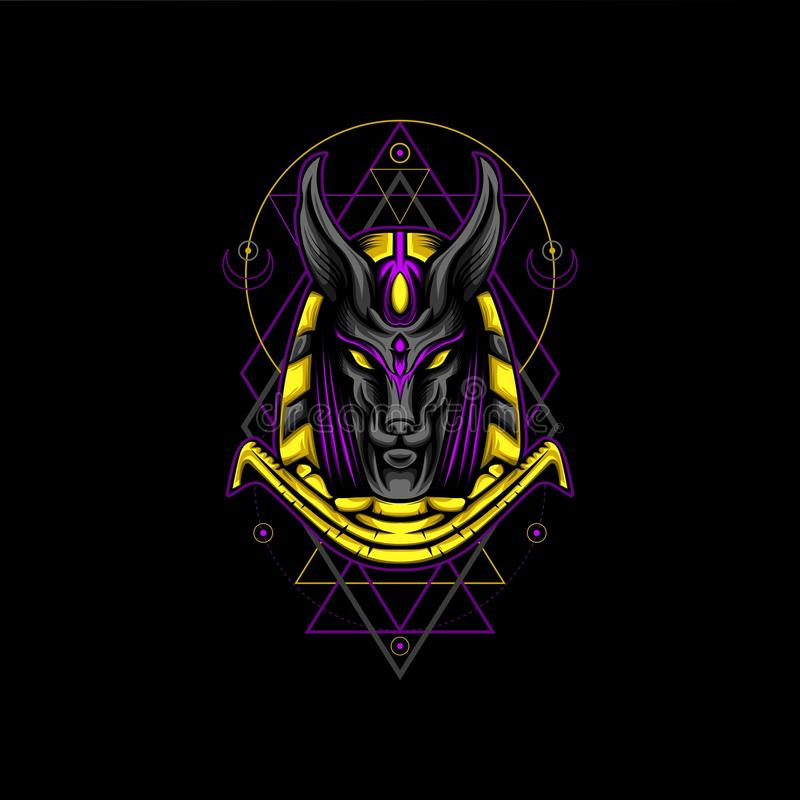 Violet Gold Anubis Geometry Style. For other apparel or merchandise stock illustration