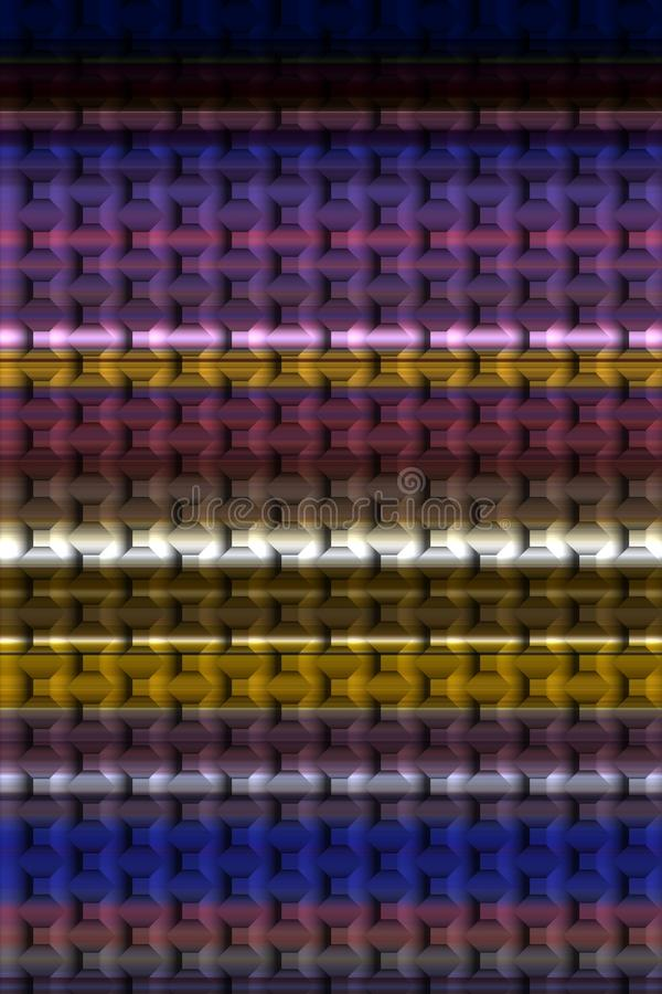 Violet gold dark background, vivid colors, shades, graphics. Abstract shaped background in colorful gold, yellow, violet, purple dark hues. Abstract lines royalty free illustration