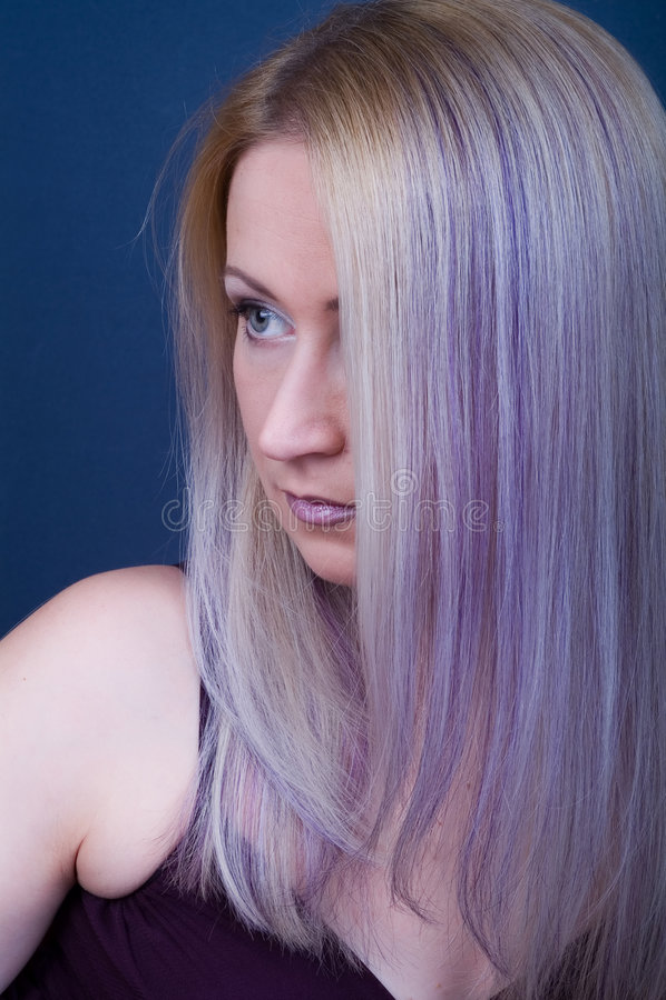 Violet Hair Royalty Free Stock Image