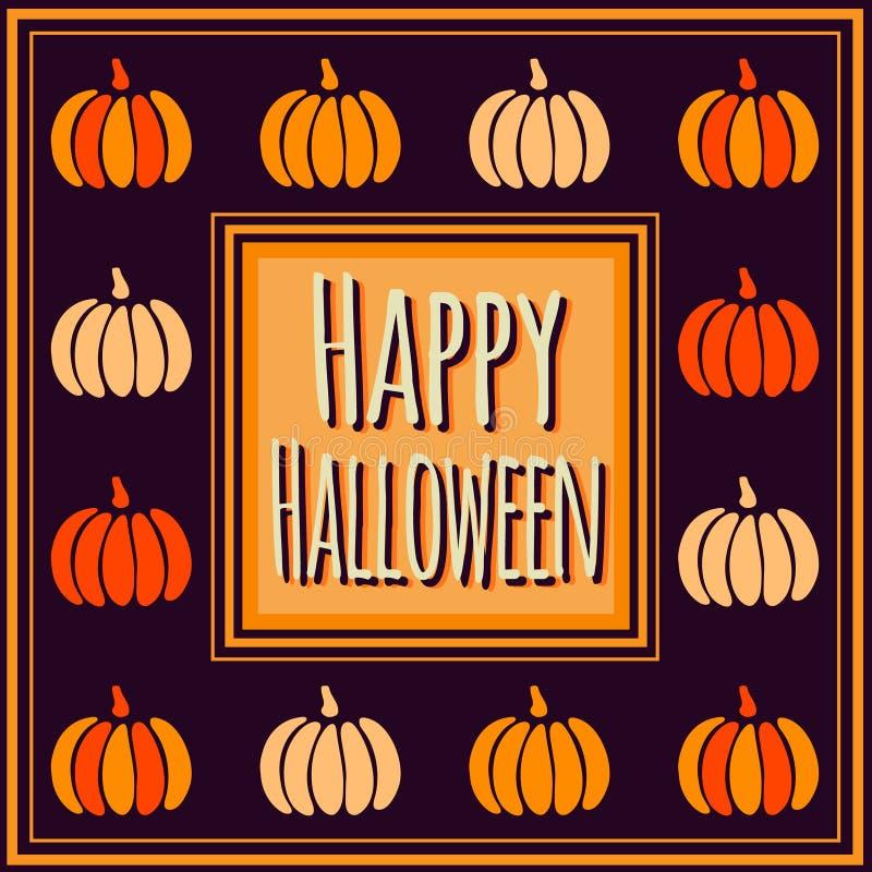 Violet Happy Halloween fyrkantram med färgrika pumpor stock illustrationer
