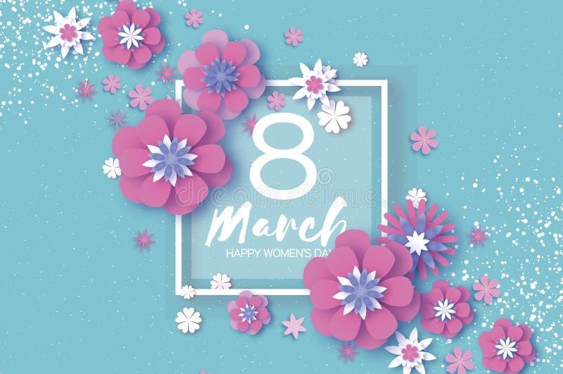 Violet Happy Womens Day O 8 de março violeta Dia de mães na moda Cartão floral cortado papel Flores de Origami Mola ilustração stock