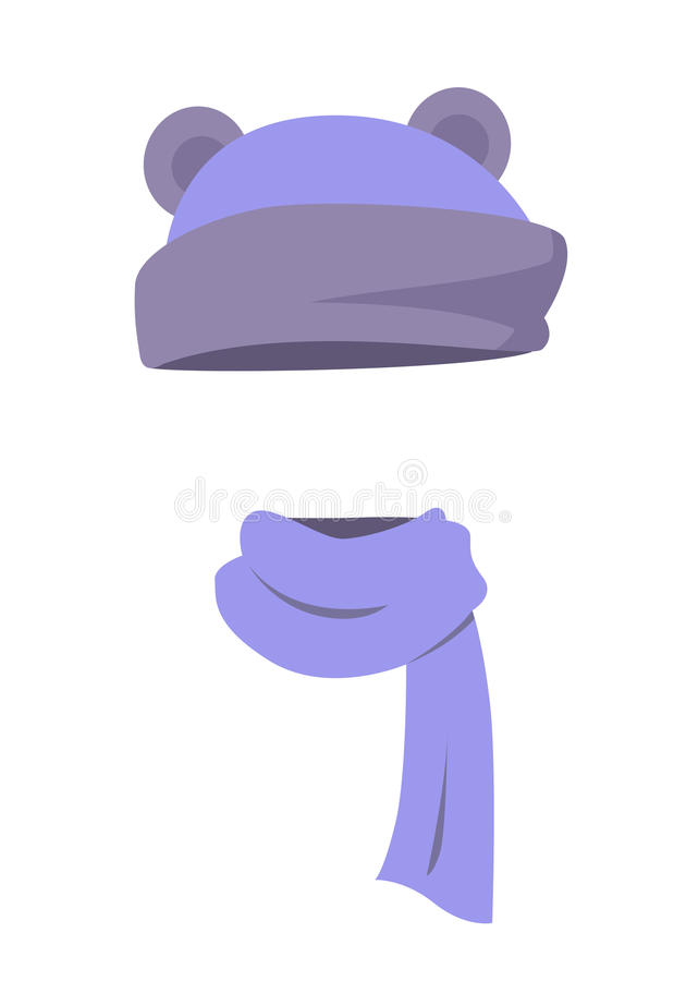 Violet Hat with Ears and Long Silk Scarf. Vector vector illustration