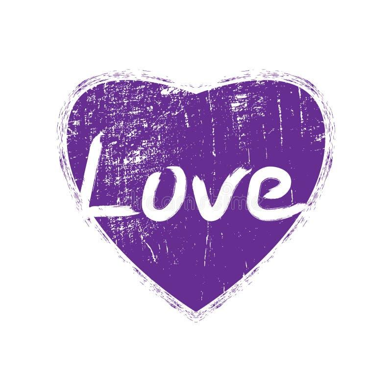 Violet Heart With Handmade Lettering Vector het ontwerpdruk van de grungemanier voor de zomert-shirt met hart stock illustratie