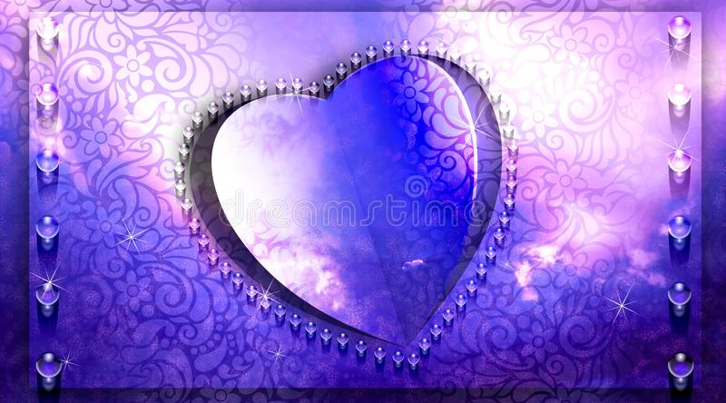 Violet heart paper cut design. Abstract heart background for website background, wallpaper, screen sever, book cover,calligraphy