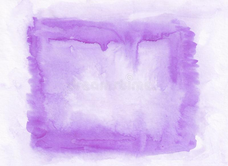 Violet horizontal watercolor gradient hand drawn background. Middle part is lighter than other sides of image stock photography