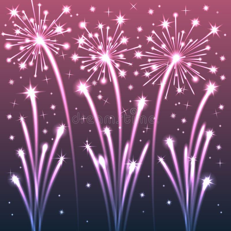 Violet Illuminated Fireworks. Vector Illustration royalty free illustration