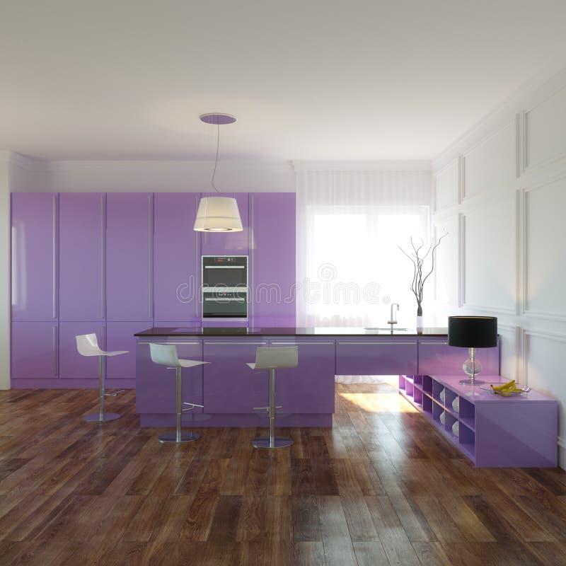 Violet Kitchen en nuevo interior con el piso de madera y las paredes blancas imagenes de archivo