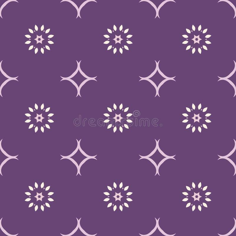 Violet kleuren achtergrond geometrisch bloemen naadloos patroon vector illustratie