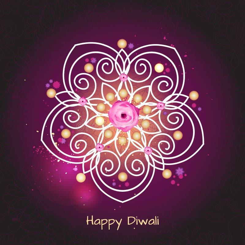 Violet kleurenontwerp als achtergrond voor Diwali-festival met rangoli royalty-vrije illustratie