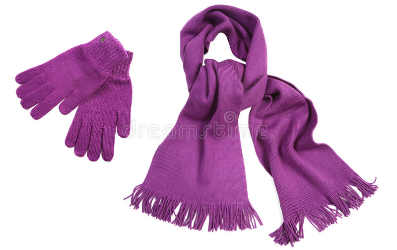 Violet knit scarf and gloves