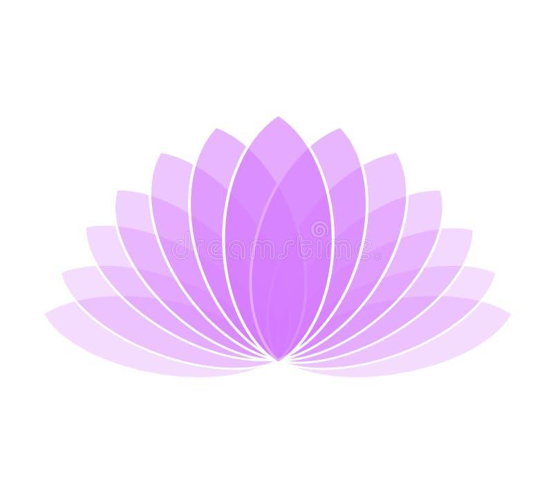 Violet Lotus Flower Icon Logo en el ejemplo blanco del fondo ilustración del vector