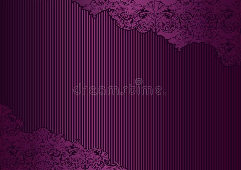 Violet, marsala, purple vintage background , royal with classic Baroque pattern. Rococo with darkened edges backgroundcard, invitation, banner. horizontal stock illustration