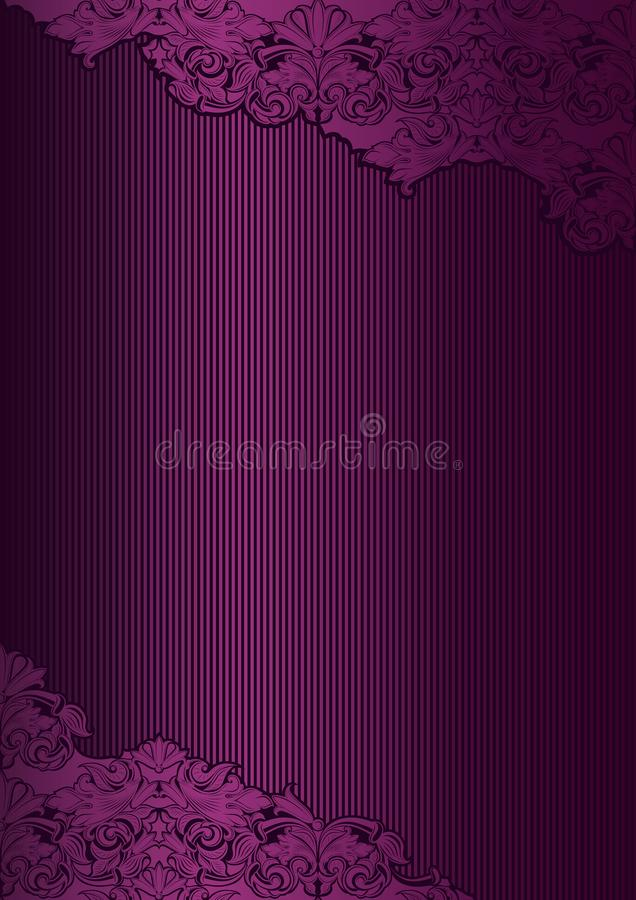 Violet, marsala, purple vintage background , royal with classic Baroque pattern. Rococo with darkened edges backgroundcard, invitation, banner. vertical format stock illustration