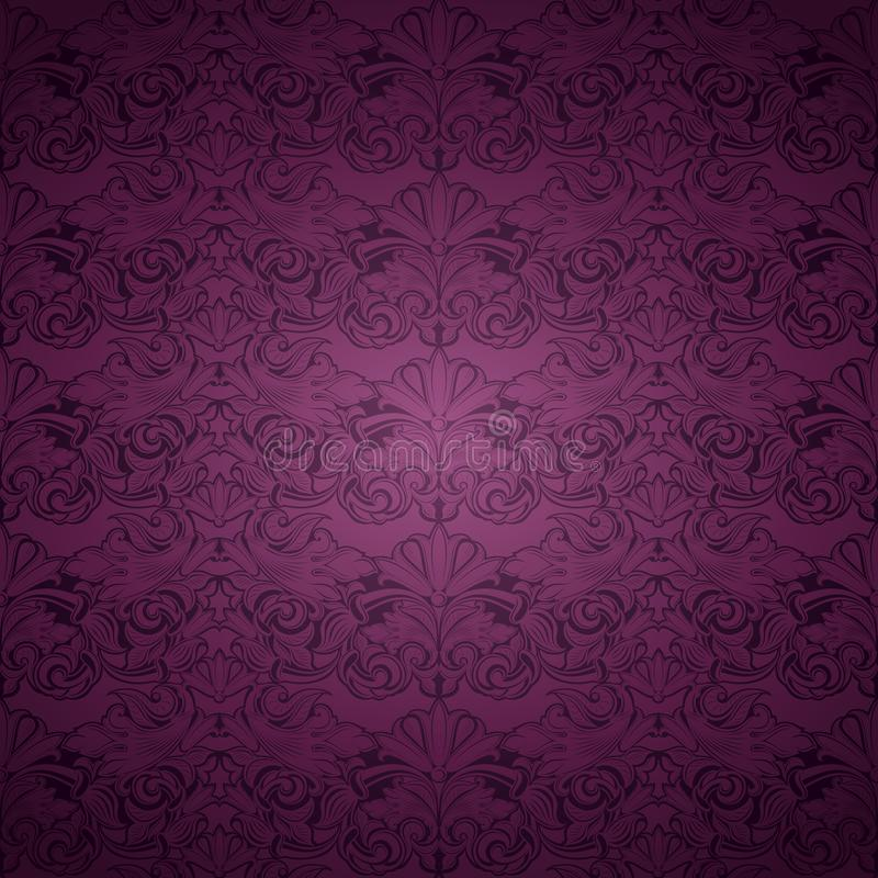 Violet, marsala, purple vintage background , royal with classic Baroque pattern. Rococo with darkened edges backgroundcard, invitation, banner. Square format stock illustration
