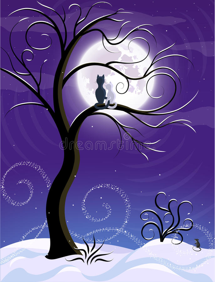 Violet moon. Winter landscape, violet moon cat lovers winter evening enjoying the moon (vector