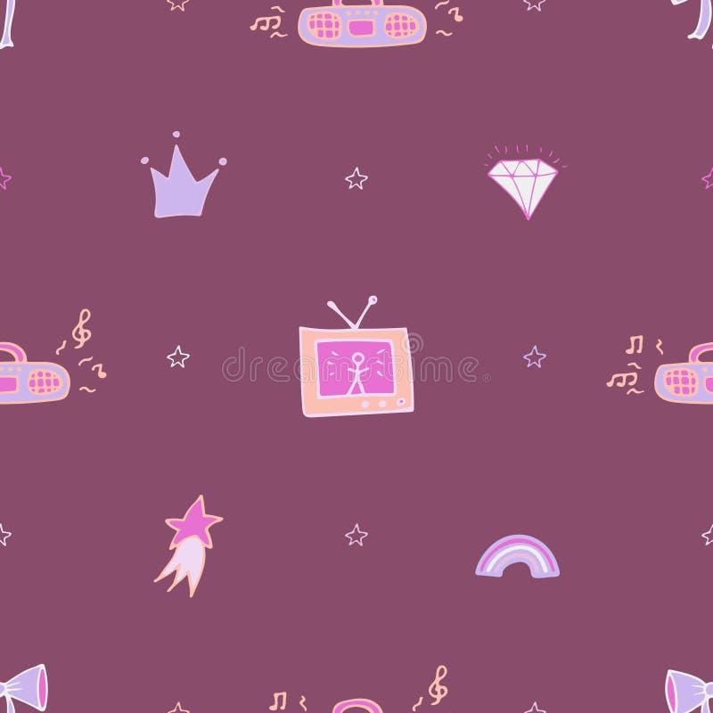 Violet naadloos patroon met de bandrecorder, TV, en de krabbels vector illustratie
