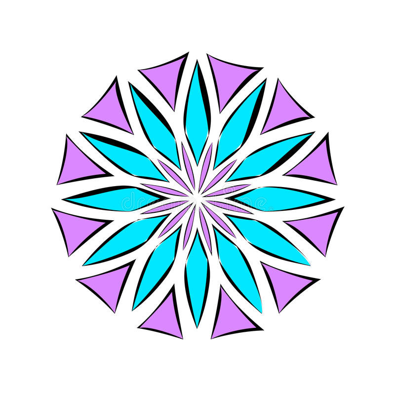 Violet och blåttblomma Dekorativ beståndsdel för design vektor illustrationer
