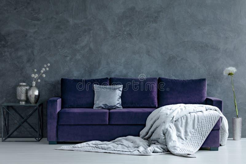 Violet- och silvervardagsrum arkivfoto