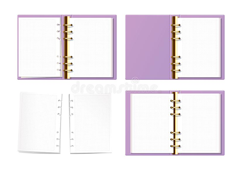 Violet open notebook mock up top view. Paper with dot texture. Opened ring book with clear blank pages. Torn pages set. royalty free illustration