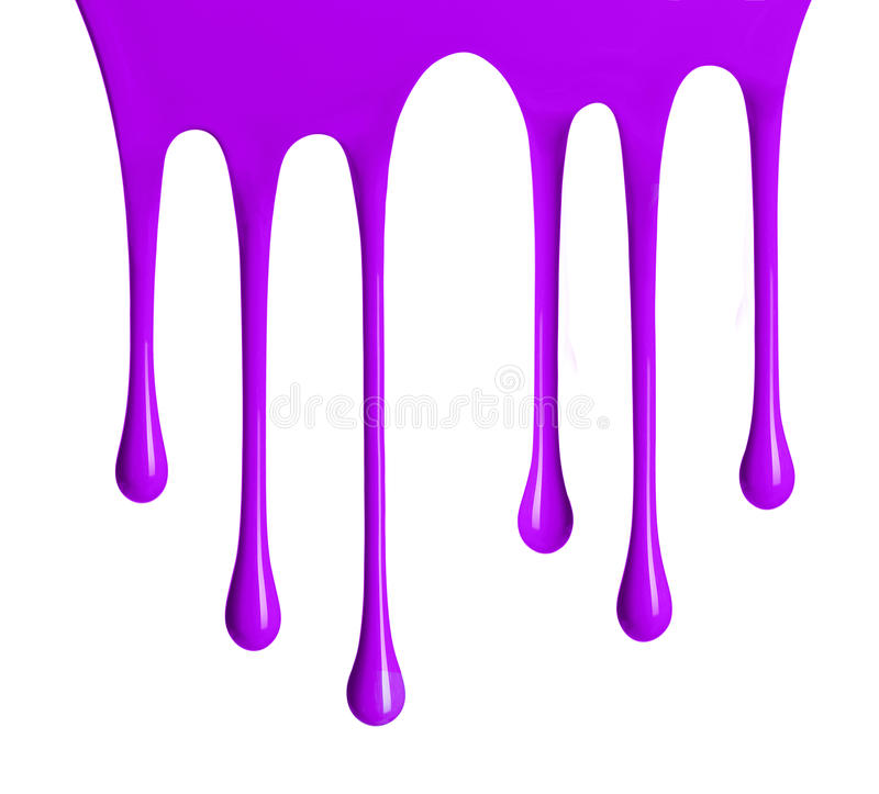 Violet paint dripping isolated on white background. Violet paint dripping isolated over white background royalty free stock images