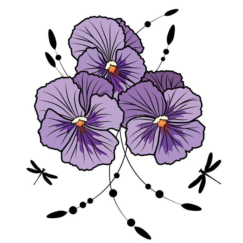 Download Violet pansies stock vector. Image of elegant, eps10 - 23842231