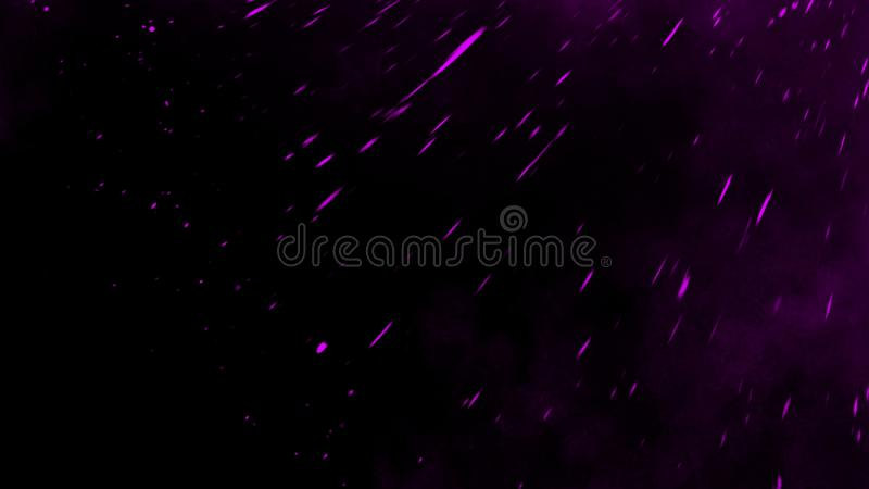Violet particles debris isolated on black background for text or space . Film texture effect. Design element. Violet particles debris isolated on black stock image