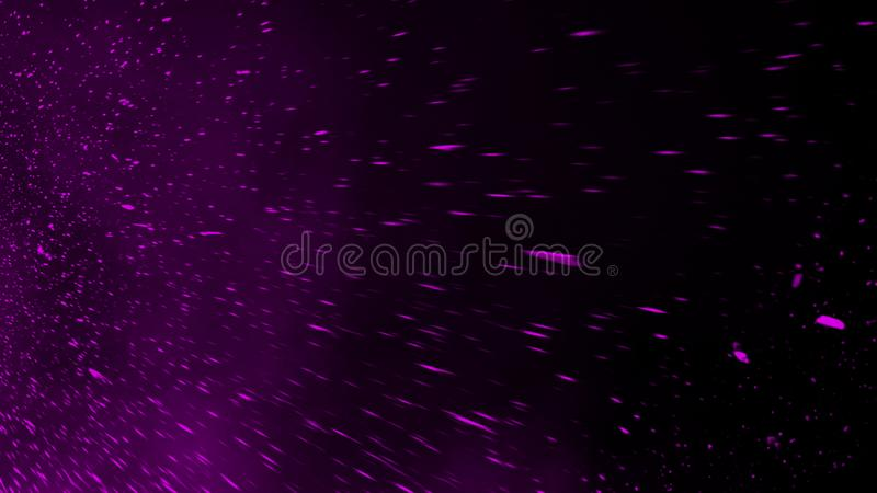 Violet particles debris isolated on black background for text or space . Film texture effect. Design element. Violet particles debris isolated on black stock photo