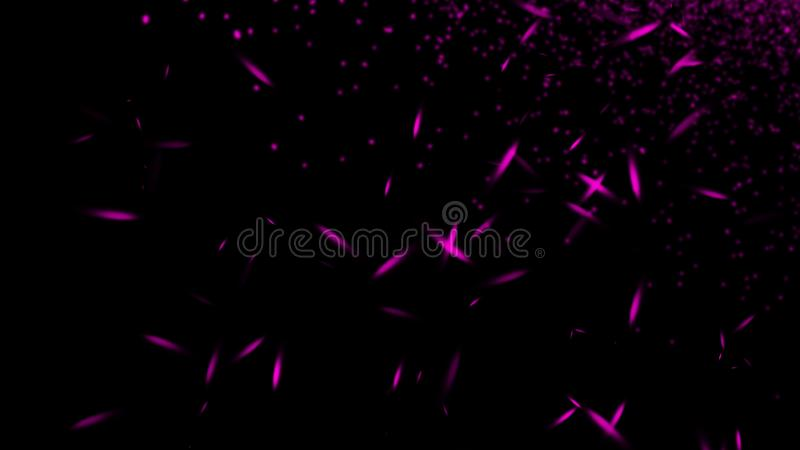 Violet particles debris isolated on black background for text or space . Film texture effect. Design element. Violet particles debris isolated on black stock photos