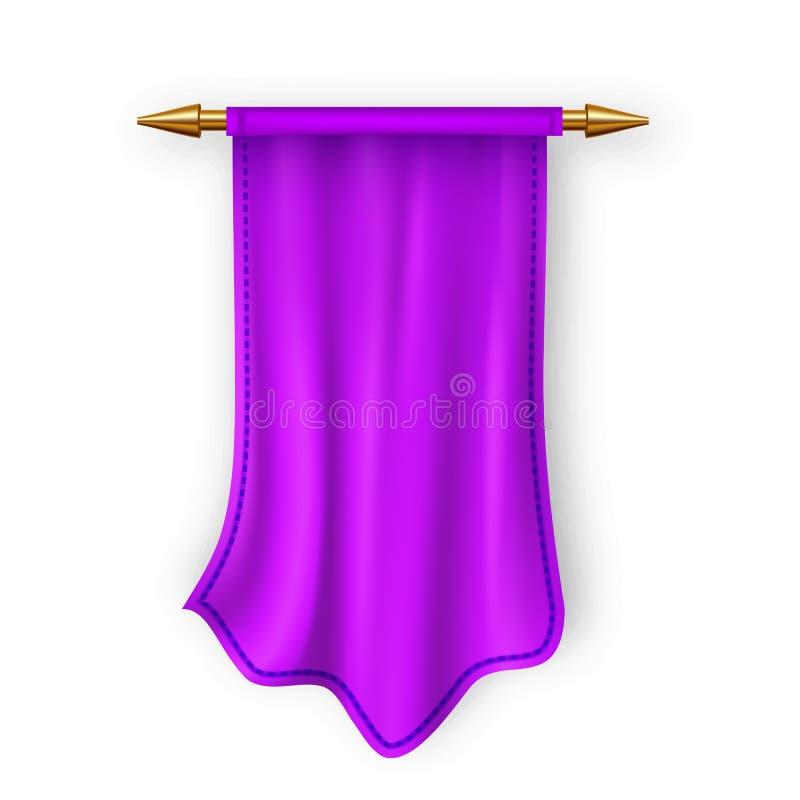Violet Pennat Flag Vector Plantilla vacía Espacio en blanco de la tela del pendón Ejemplo aislado realista heráldico 3D libre illustration