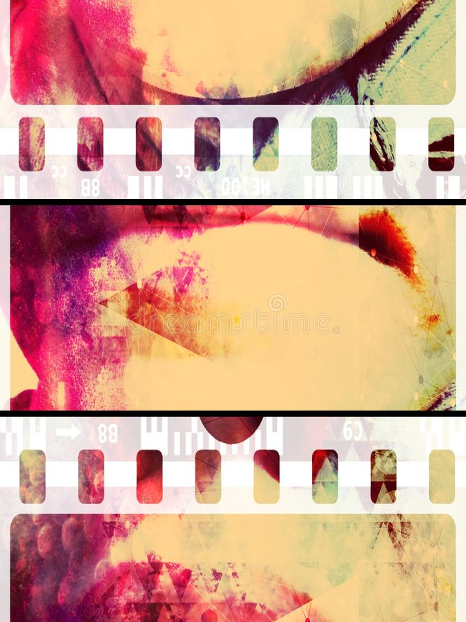 Violet pink face print film abstract collage background of woman lips stock images
