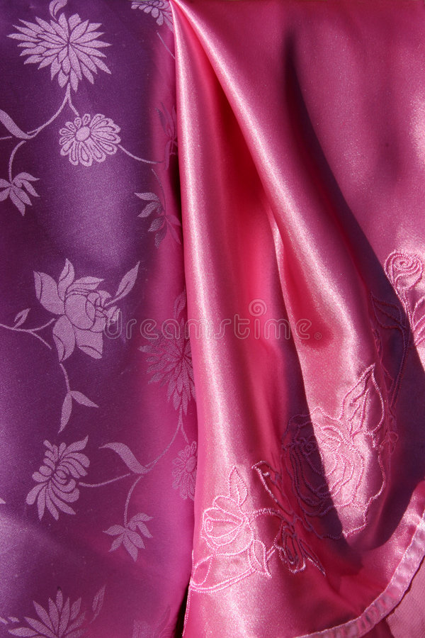 Violet and Pink Silky Fabric royalty free stock photography