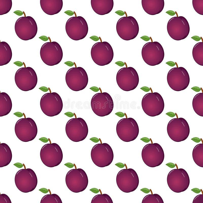 Violet Plum Fruit Seamless Pattern en blanco ilustración del vector