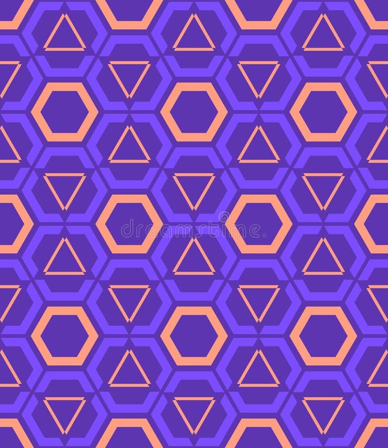 Violet purper oranje kleuren abstract geometrisch naadloos patroon royalty-vrije illustratie