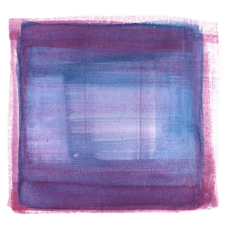 Violet, purple and blue illustration of hand-drawn watercolor painting, squared form royalty free illustration