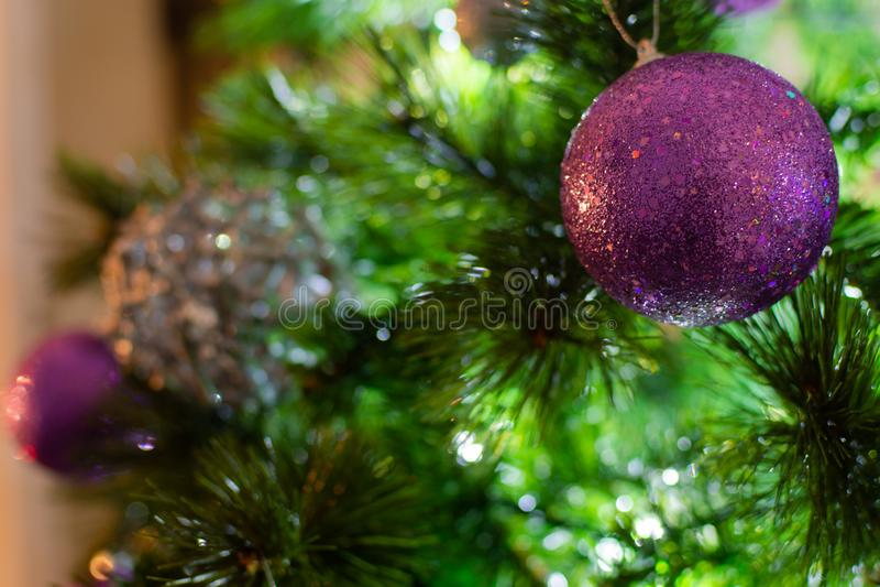 Violet Purple et boules argentées de Noël sur l'arbre dans un sce d'hiver photographie stock libre de droits