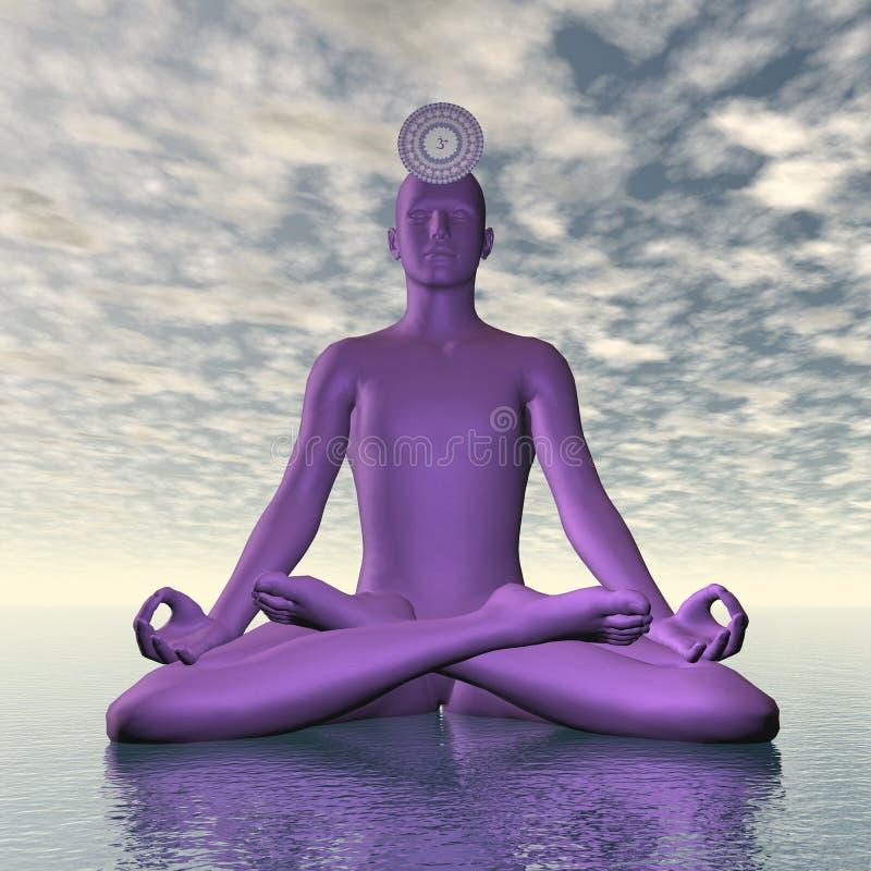 Violet purple sahasrara or crown chakra meditation - 3D render. Silhouette of a man meditating with violet purple sahasrara or crown chakra symbol upon ocean in royalty free illustration