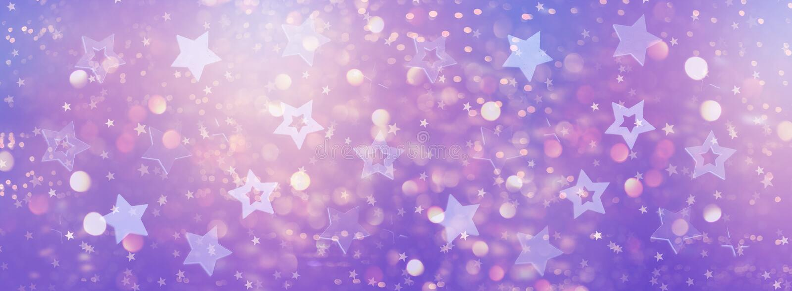 Violet, purple stars on gold background with bokeh. Texture for new year, birthday, baby shower party. Creative pattern. Banner stock photography