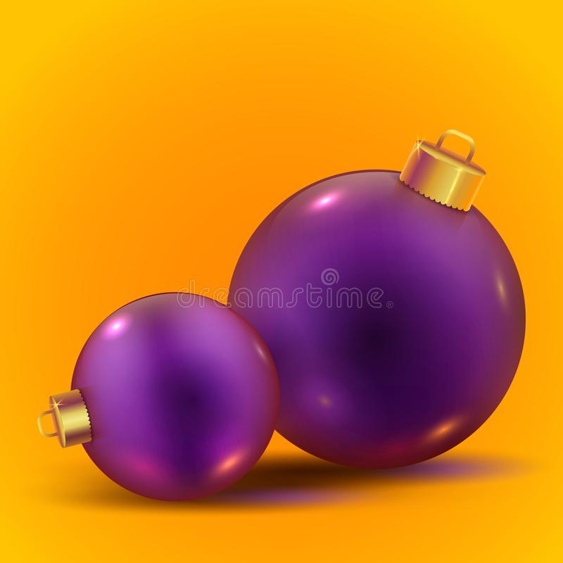 Violet realistic vector shiny Christmas balls on trendy yellow background. Violet realistic vector shiny Christmas balls with shadows on trendy yellow background stock illustration