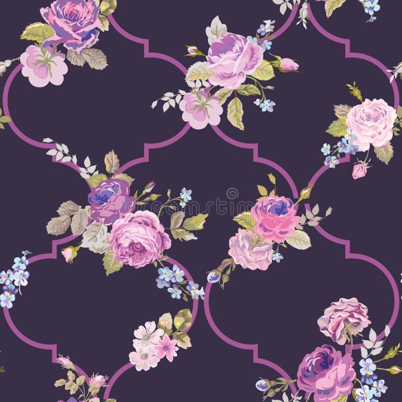 Violet Roses Barocco Flowers Background Violet Sömlös blom- renässansmodell stock illustrationer