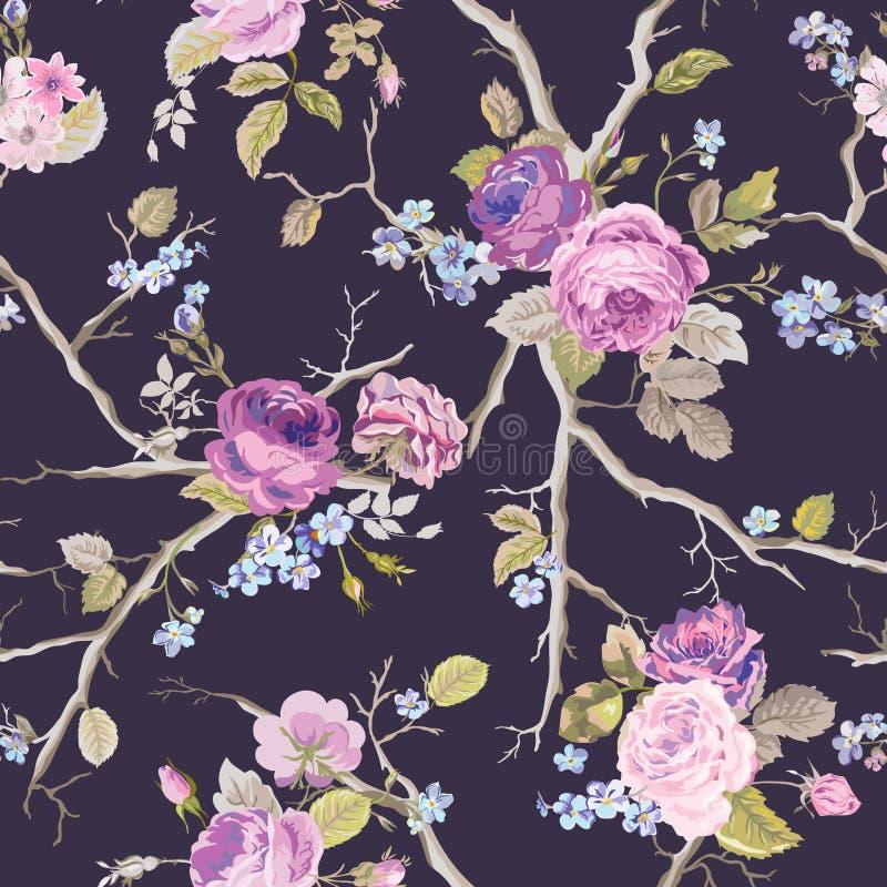 Violet Roses Flowers Texture Background Nahtloses Blumenmuster lizenzfreie abbildung