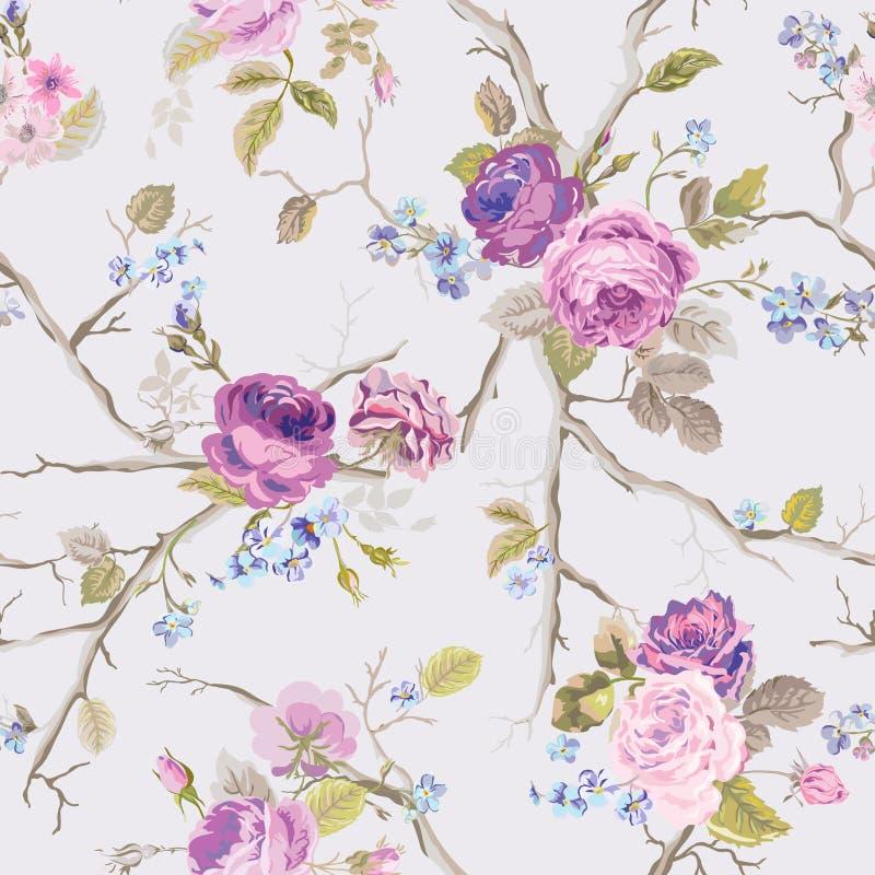 Violet Roses Flowers Texture Background Reticolo floreale senza giunte illustrazione di stock