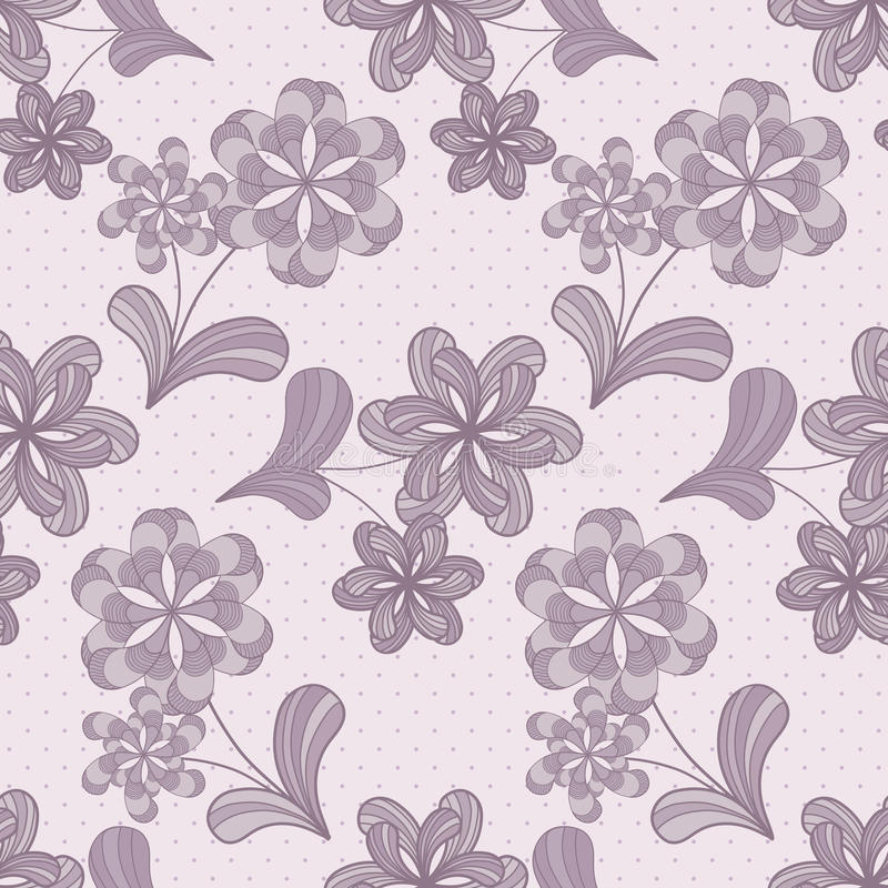 Violet Seamless Pattern With Flowers Royalty Free Stock Photos