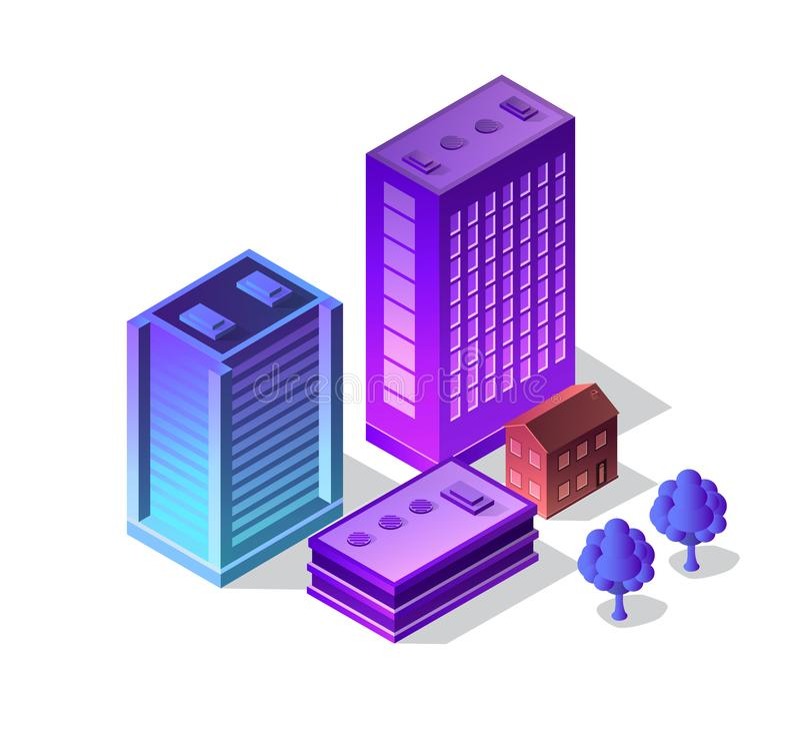 Violet set 3d futuristic. Isometric street neon design building on an smart city urban house of cityscape vector illustration