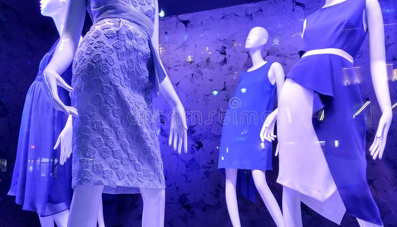Violet Shop Window modetrender, NYC, NY, USA arkivfoton
