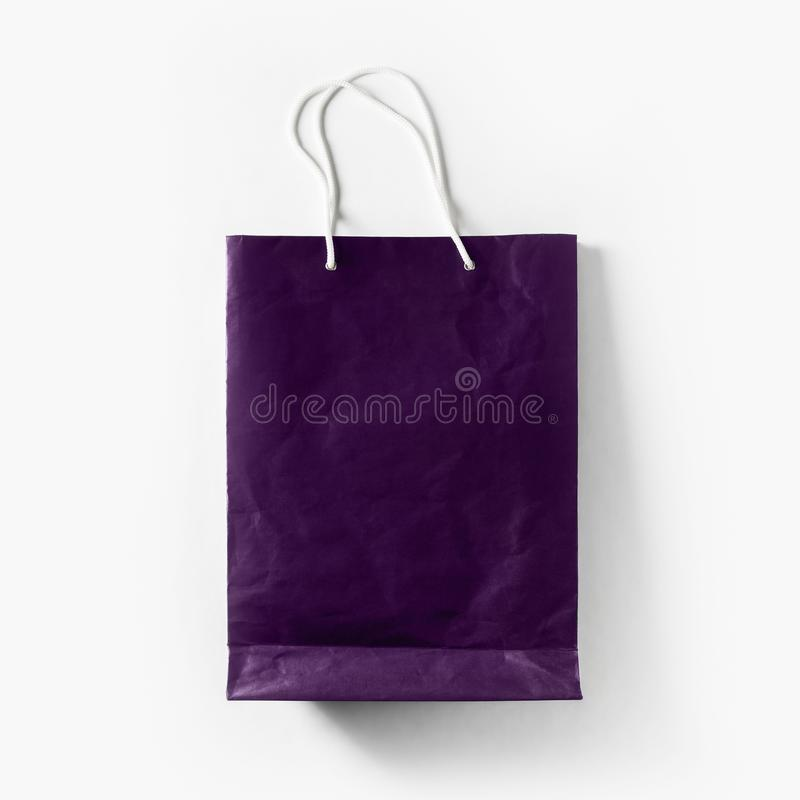 Violet shopping bag stock photography