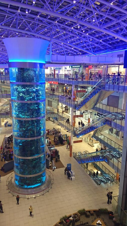 Violet shopping paradise. Biggest shopping mall in moscow stock images